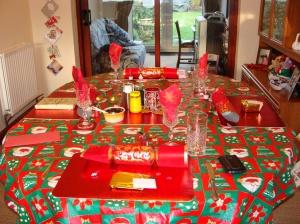Os crackers na mesa de Natal inglesa.