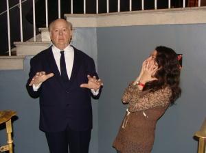 O mestre do suspense, Hitchcock, também me surpreendeu no Museu de Cera em Londres