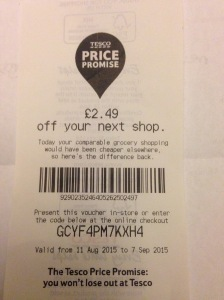 2.49 libras (mais ou menos 10 reais) de desconto na próxima compra.