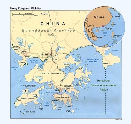 Mapa de Hong Kong e sua localização na China. Fonte: http://vlib.iue.it/history/asia/China/