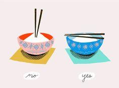 Não coloque o palitinho na vertical em uma tigela de arroz. Fonte: Pinterest